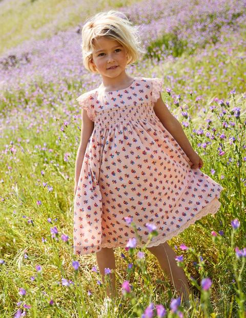 Nostalgic Smocked Dress - Pink Vintage Posy