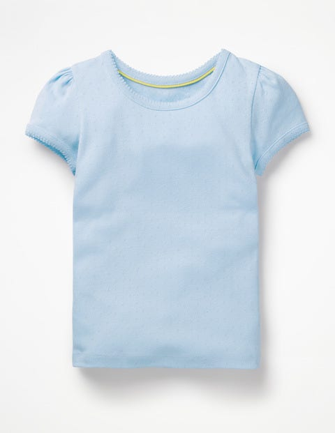 Short-Sleeved Pointelle Top - Provence Blue