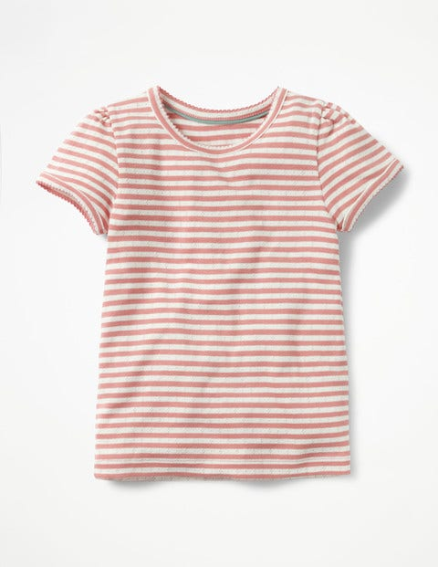 Short-Sleeved Pointelle Top - Ecru/Carousel Pink