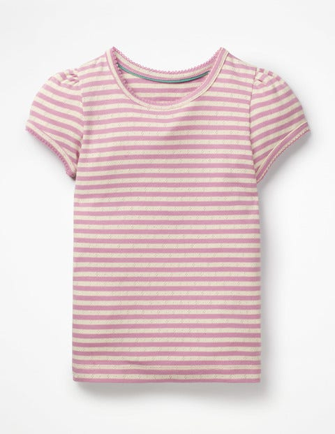 Short-Sleeved Pointelle Top - Lilac Pink/ Ivory