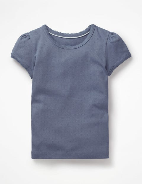 Short-Sleeved Pointelle Top - Violet Grey