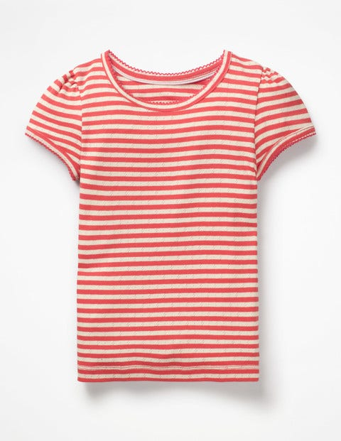 Short-Sleeved Pointelle Top - Jam Red/ Ivory