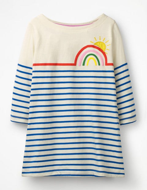 Stripy Appliqué Tunic - Ivory/Duke Blue Rainbow