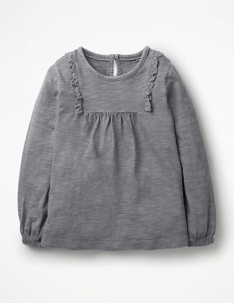 Broderie Longer Length Top - Violet Grey