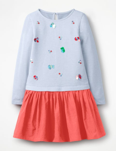Fun Jersey Woven Dress - Provence Blue Marl Flowers