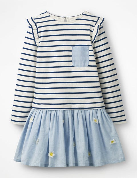 Fun Jersey Woven Dress - Ivory/College Blue Daisies