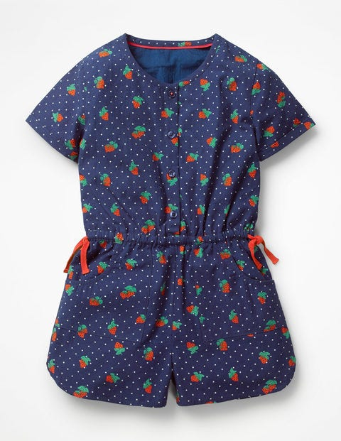 Printed Woven Playsuit - Starboard Blue Strawberry Spot