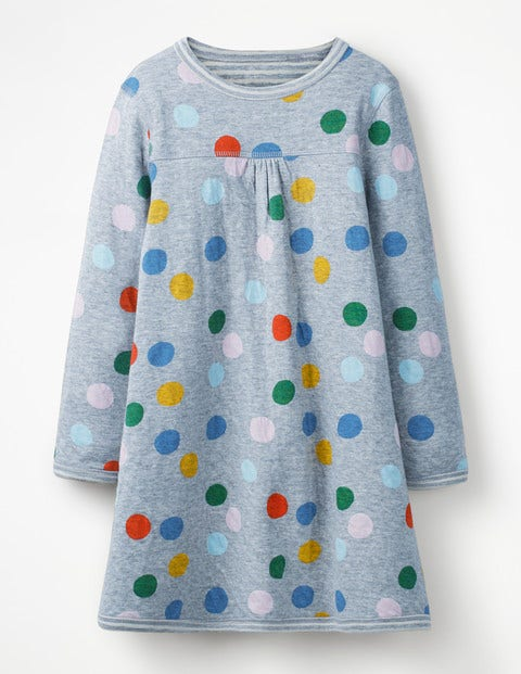 Reversible Jersey Dress - Blue Marl Painted Spot