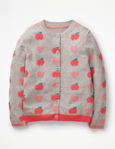 Fun Cardigan - Grey Marl Apples & Hearts