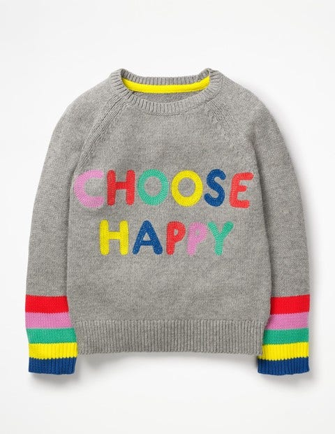 Happy Days Jumper - Grey Marl Happy