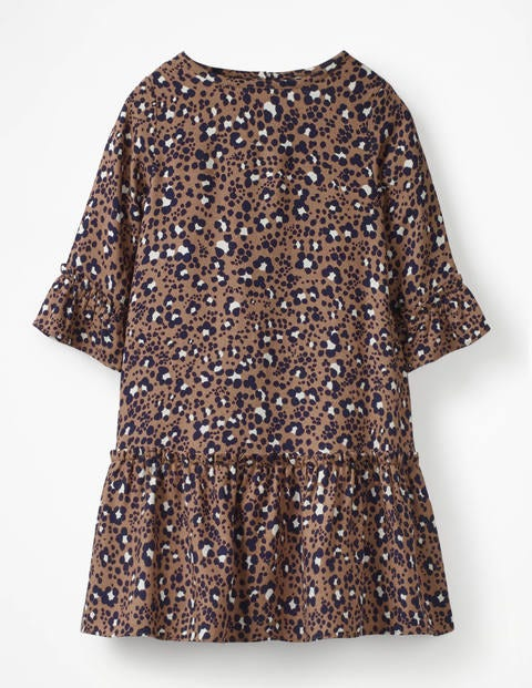 Frill Sleeve Printed Dress - Soft Truffle Animal Print