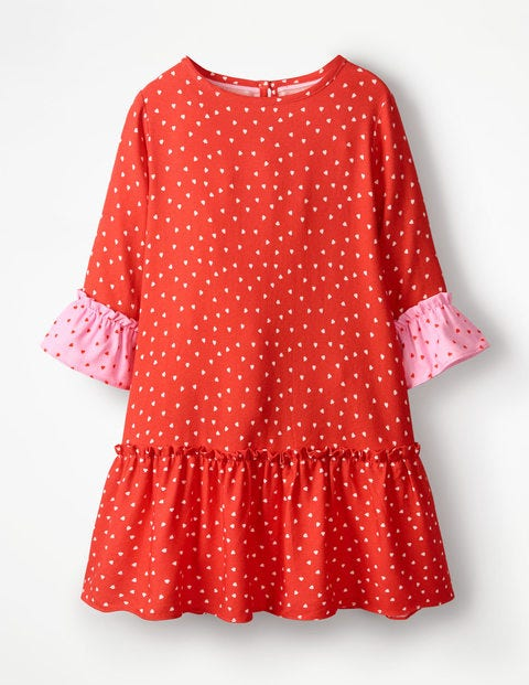 Frill Sleeve Printed Dress - Beam Red Sweet Hearts