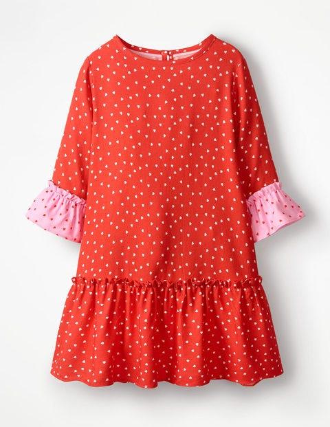 Gemustertes Kleid Mit Rüschenärmeln - Helles Rot, Süße Herzen