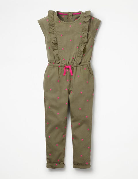 Frilly Woven Jumpsuit - Khaki Green Sweet Hearts