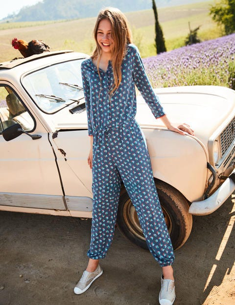 Printed Jersey Jumpsuit - Blue Vintage Posy