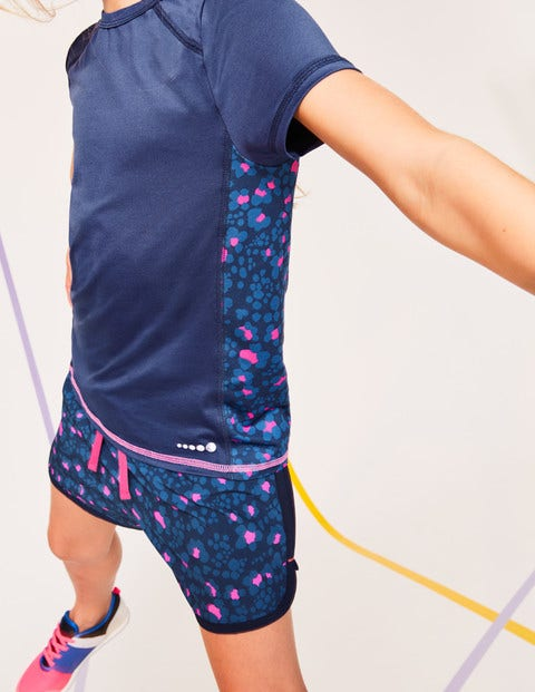 Running Shorts - Duke Blue/Pink Animal Print