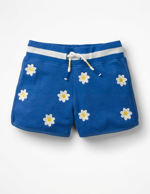 Embroidered Jersey Shorts - Duke Blue Daisies