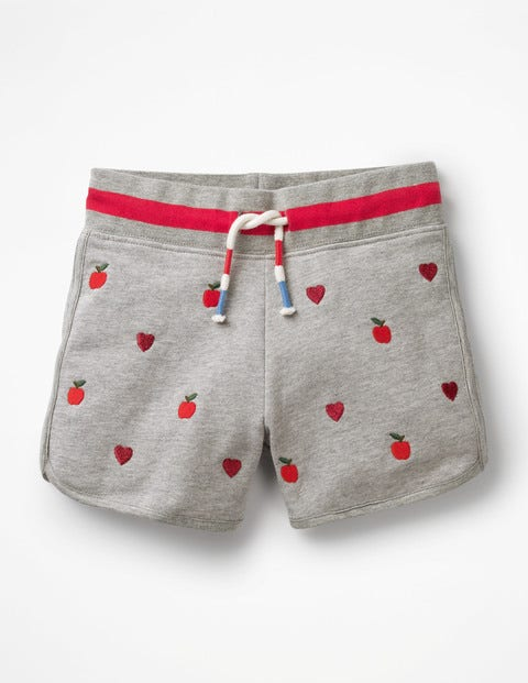 Embroidered Jersey Shorts - Grey Marl Apples/Hearts