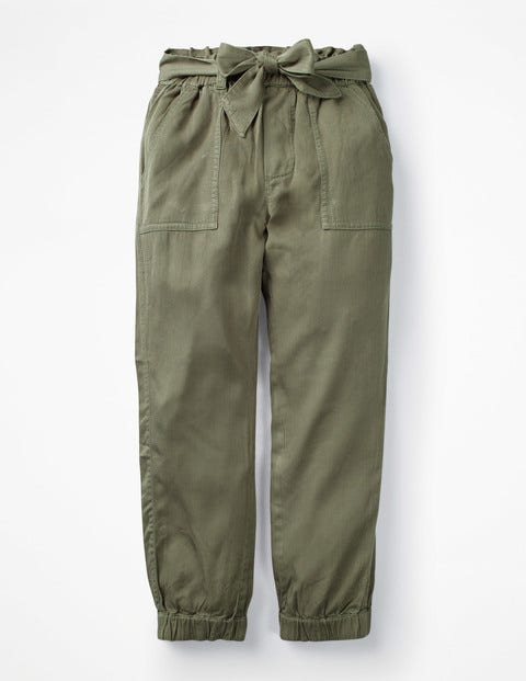 Tie-waist Trousers - Khaki Green