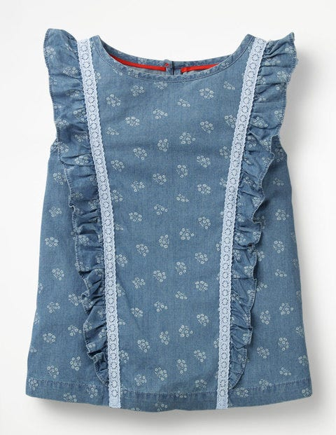 Lace Detail Woven Top - Chambray Vintage Posy