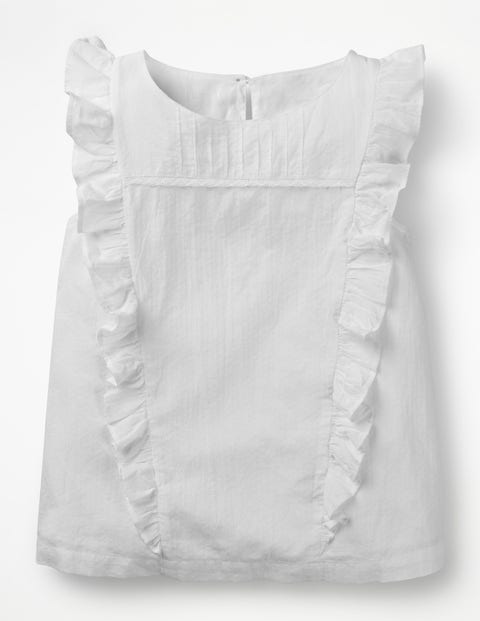 Lace Detail Woven Top - White