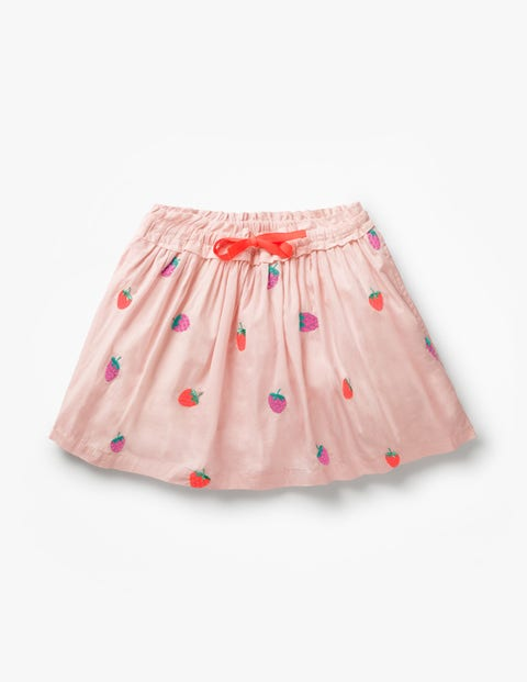 Pretty Embroidered Skirt - Parisian Pink/Strawberries