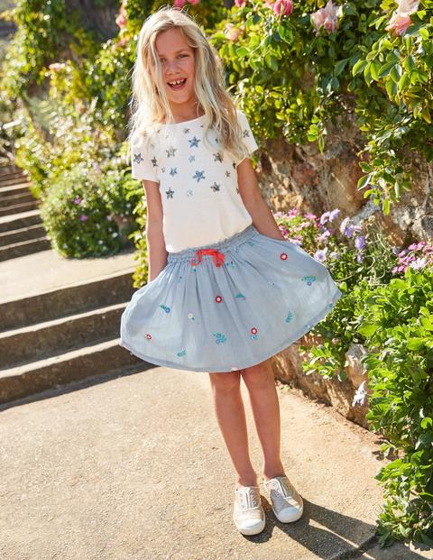 Pretty Embroidered Skirt - Lake Blue Ticking Stripe