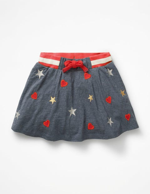 Embroidered Jersey Skort - Blue Marl Sparkly Hearts/Stars