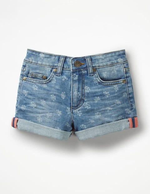 Printed Denim Shorts - Denim Vintage Posy
