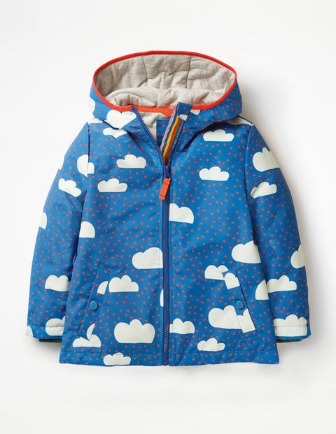 Jersey-Lined Anorak - Blue Love Clouds