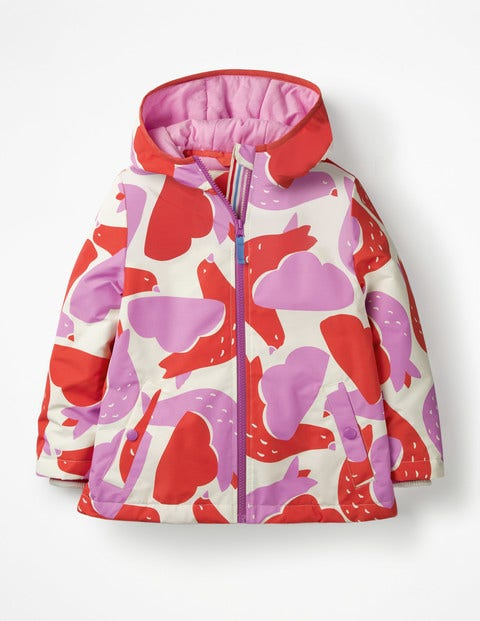 Jersey-lined Anorak - Ecru/Lilac Pink Geo Birds
