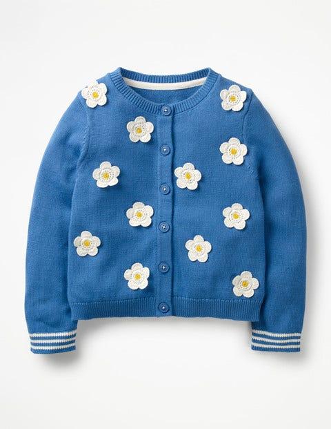 Pretty Floral Cardigan - Elizabethan Blue