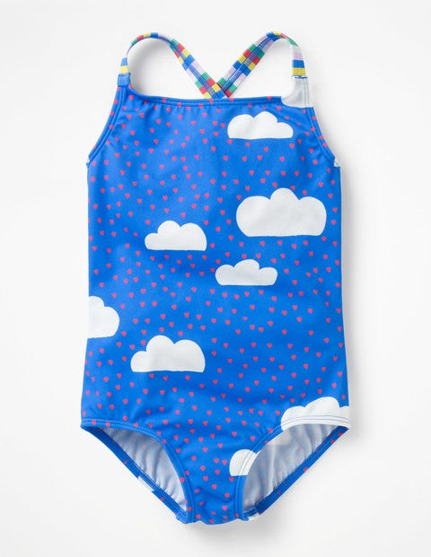 Cross-Back Swimsuit - Oasis Blue Love Clouds