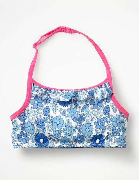 Ruffle Bikini Top - Blue Wallpaper Floral