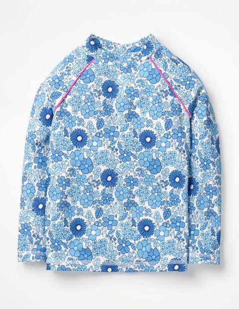 Long-Sleeved Rash Guard - Blue Wallpaper Floral