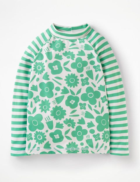 Long-Sleeved Rash Guard - Jungle Green Pop Floral