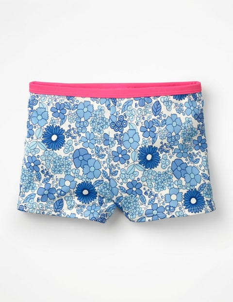 Swim Shorts - Blue Wallpaper Floral
