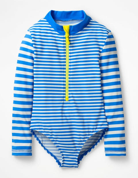 Stripy Long-Sleeved Swimsuit - Oasis Blue/Ivory
