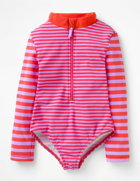 Stripy Long-Sleeved Swimsuit - Lavender/Indie Red