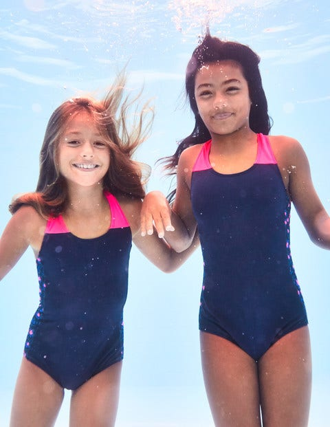 Racer-Back Swimsuit - Deep Sea Blue