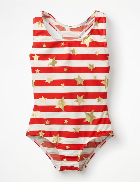 Racer-Back Swimsuit - Sunset Red/Gold Star