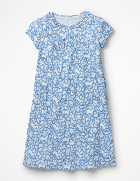 Printed Nightgown - Lake Blue Wild Ponies