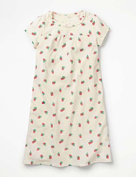 Printed Nightgown - Ivory Strawberry Spot