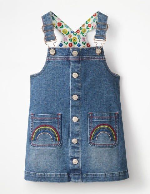 Button-Front Overall Dress - Light Vintage Blue Rainbows