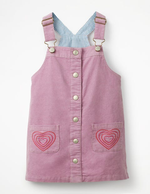 Button-Front Overall Dress - Delphinium Lilac Hearts