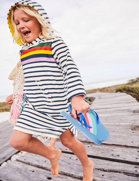 Stripy Towelling Beach Dress - College Blue Rainbow Stripe