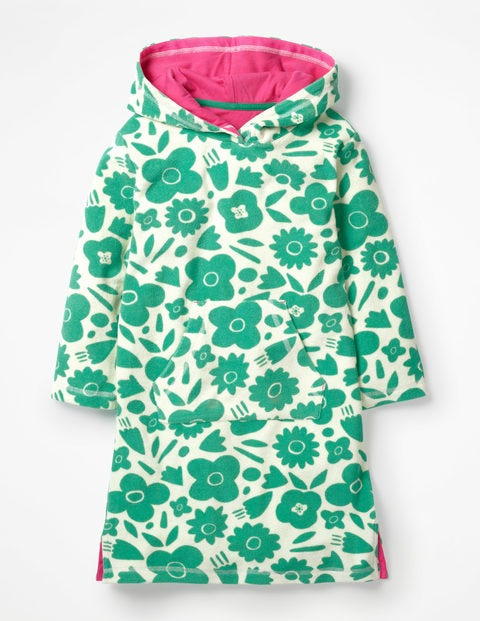 Fun Towelling Beach Dress - Jungle Green Pop Floral
