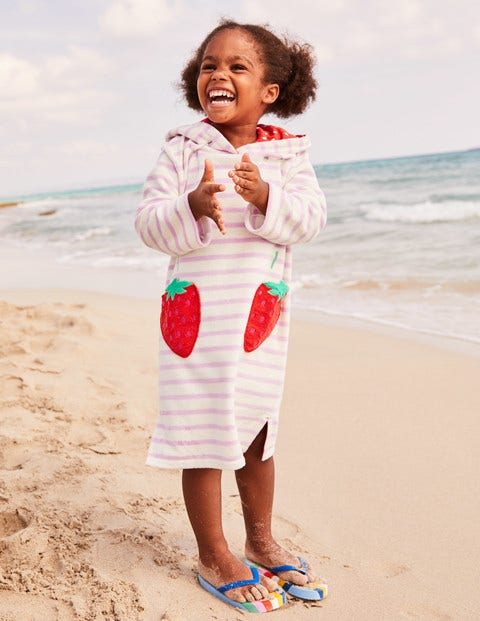 Fun Towelling Beach Dress - Parasol Pink Strawberries