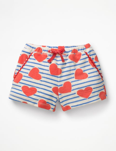 Towelling Shorts - Elizabethan Blue Stripe/Hearts
