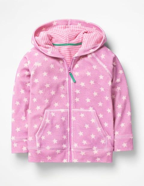 Towelling Hoodie - Lilac Pink Star